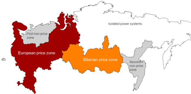 Price zones map of the Wholesale Electricity Market of Russia